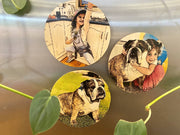 Cartoon My Pet Magnets - Wooden Magnets, Comic Style Magnets, Pet Keepsake, Pet Magnets, Christmas Present, Dog Magnets, Pet Portrait