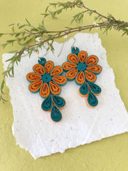 Mustard & Green quilled earrings - you won't believe it's paper!