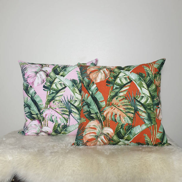 Tropical leaf print cushion cover