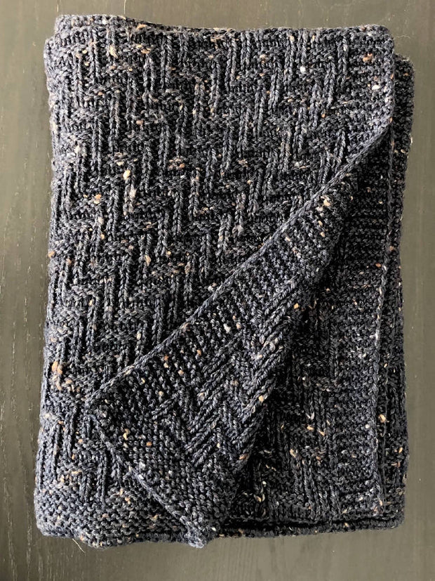 "Hand-knitted ""Tweed"" wool baby blanket"