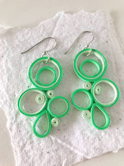 Green & White quilled earrings - you won't believe it's paper!