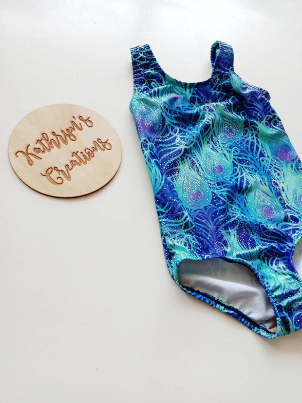 Blue Peacock Feather Leotard - Size 5