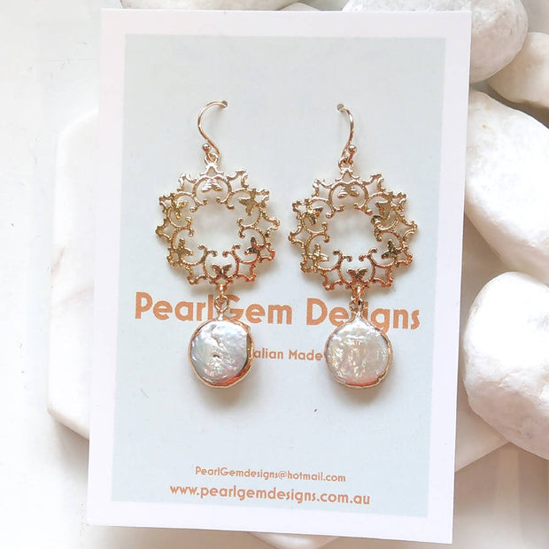 Gold Wreath Fresh Water Pearl Earrings