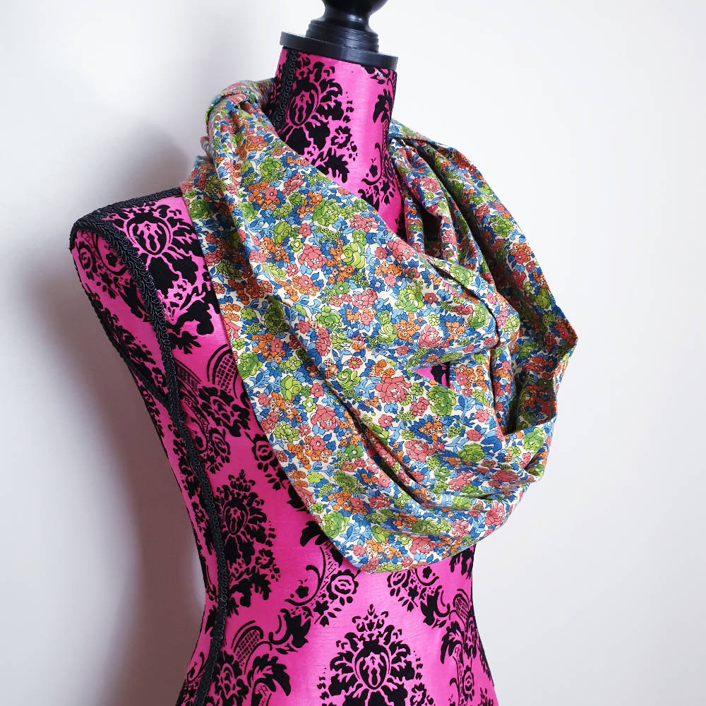 Floral Print Adult Infinity Scarf