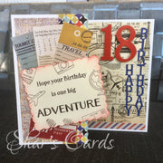 Travel theme Birthday card for 18th