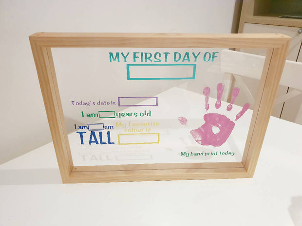 My First Day Board with Hand Print Space A3