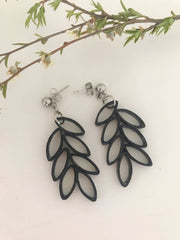 Black leaf quilled earrings - you won't believe it's paper!
