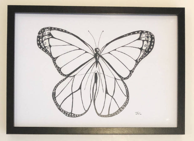 Butterfly 3 Black & White Print