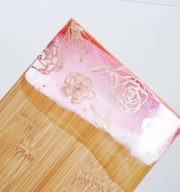 Botanical Styled- Pink Bamboo Cheeseboard with a Cheese Knife
