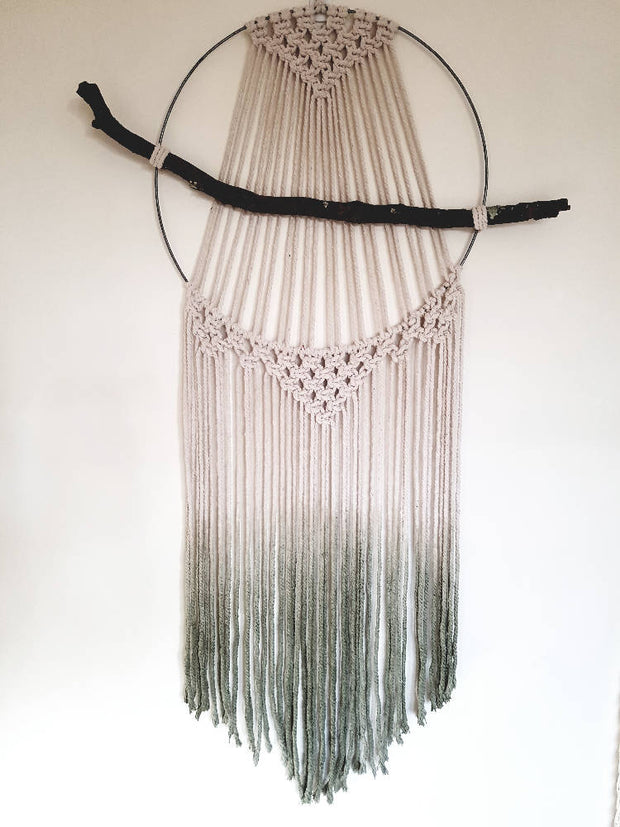 Large naturally dyed macrame hoop wall hanging