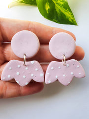 Pink & white clay statement earrings