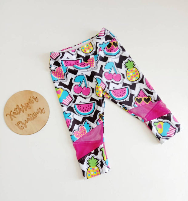 Girls' Funky Fruit Sports Leggings - Size 6