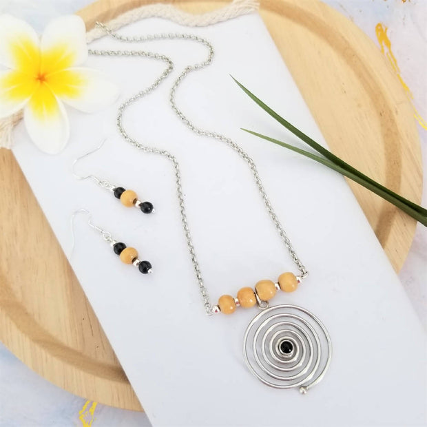 Black Onyx Spiral Necklace