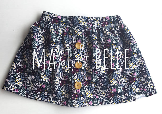 Navy Night Garden Skirt