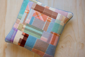 Patchy Art Cushion Cover | Square | Vintage Wool | Denim