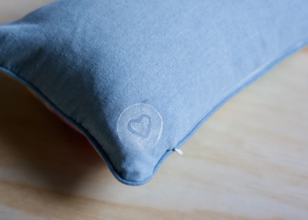 Patchy Art Cushion Cover | Little Lumbar | Vintage Wool | Denim