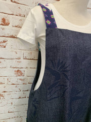 gorgeous denim screenprinted, vintage fabric pockets easy apron-medium 10-12-made in WA