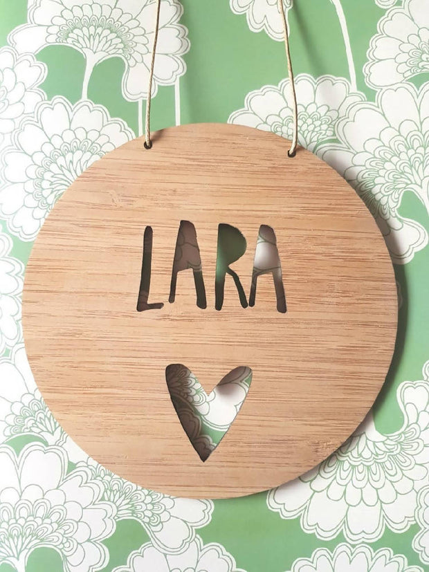 Heart Wall Hanging (Bamboo or Pastel Coloured Acrylic)