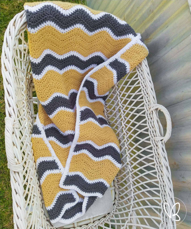 Ready Made Crochet Ripple Baby Blanket