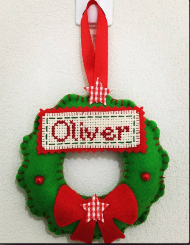Personalised Christmas wreath decoration