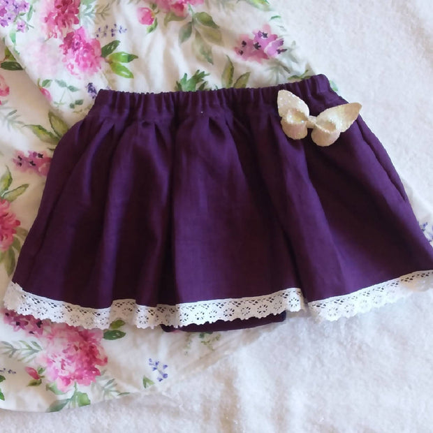 Plum Linen Nappy Skirt