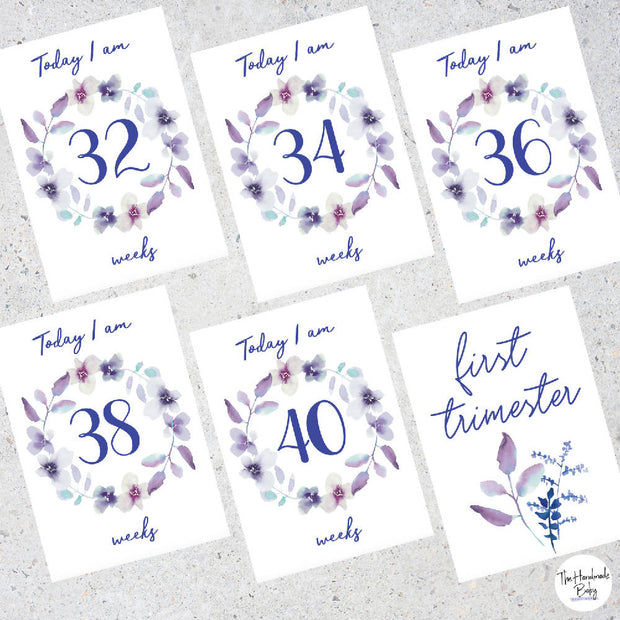 Purple Floral Pregnancy Milestone Cards
