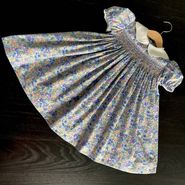 Smocked dress - pastel floral - size 3 - one of a kind