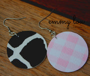 Baby Pink Gingham and Cow Print Faux Leather Earrings