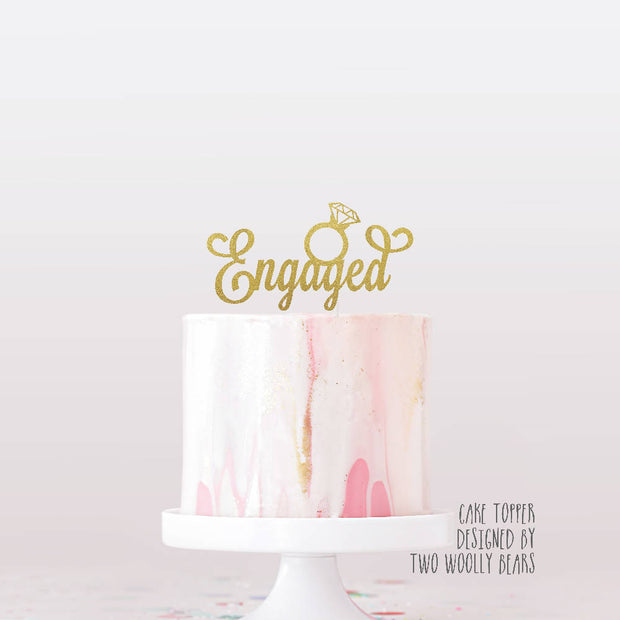 Engaged Cake Topper with Engagement Ring