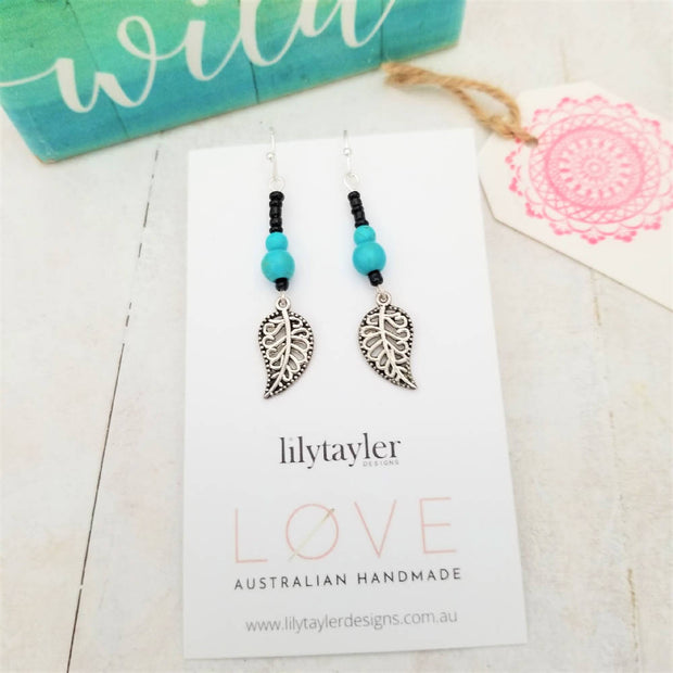 Sale! Blue Tribal Leaf Earrings