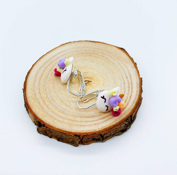Handmade Sweet Unicorn Ear Studs Earrings Floral Crown Colourful