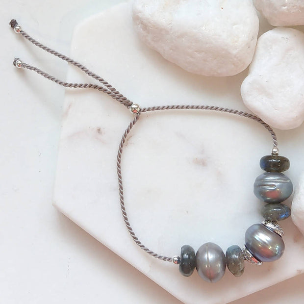 Sterling Silver Labradorite Grey Fresh Water Pearl adjustable stacking bracelet