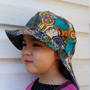 Adjustable Sunhat - Indigenous Sea Turtle Ocean Print