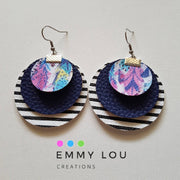 Triple Layer Stripe, Navy & Boho Feather Faux Leather Earrings