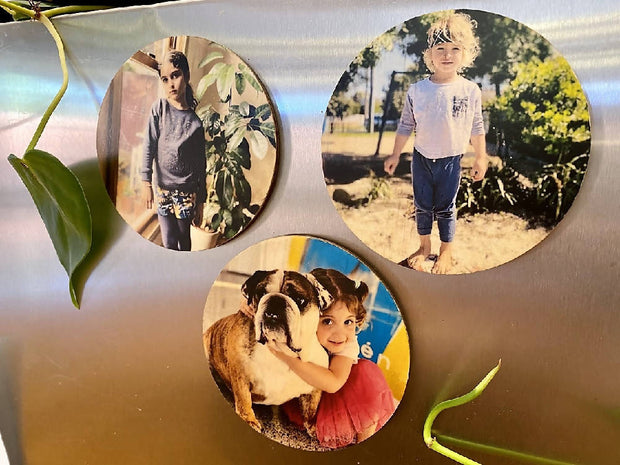 Fridge Photo Magnets - Wooden Magnets, Custom Photo Magnets, Personalised Magnets, Round Magnets, Christmas Gift, Kris Kringle Gifts