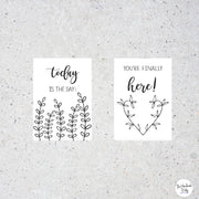 Black and White Pregnancy Milestone Cards