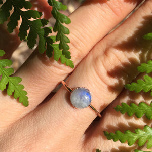 Rainbow Moonstone Ring size 6.5