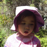 Adjustable Reversible Bonnet with Ruffled Brim - Dusty Pink & Purple