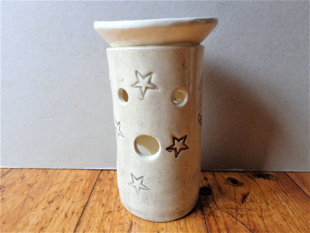 Stars and moon essential oil burner, aromatherapy rustic mystical copper lustre white grey celestial pottery aromatic diffuser lamp lantern