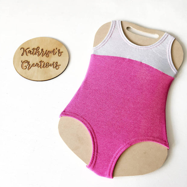 Metallic Pink & Silver Basic Leotard