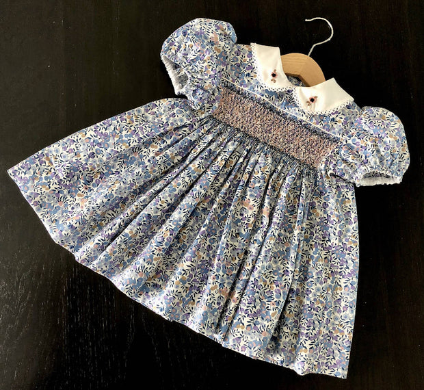 Smocked dress - blue floral - size 1 & size 3
