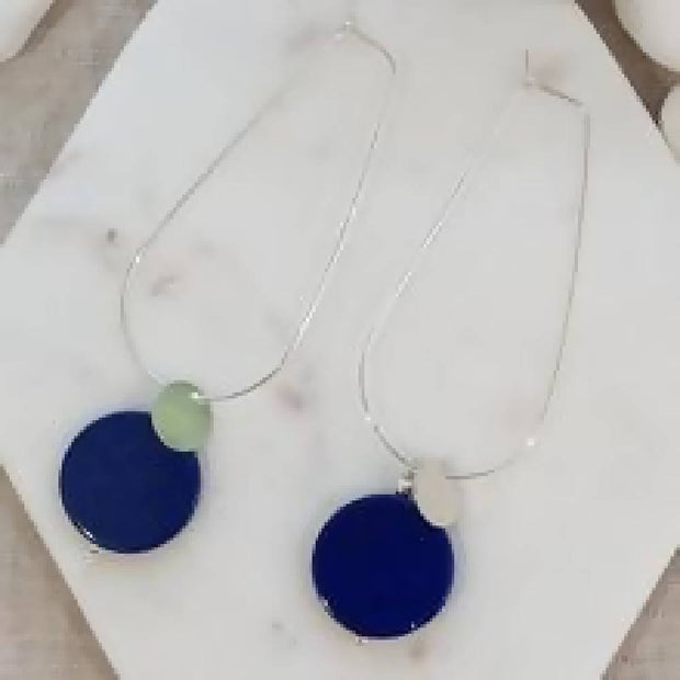 Sea Dreaming long hoop Lapis Lazuli Gold or Silver Earrings