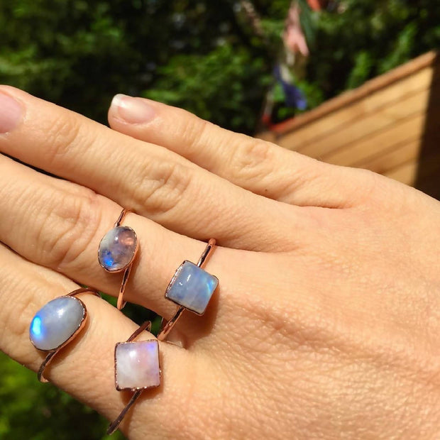 Rainbow Moonstone Rings