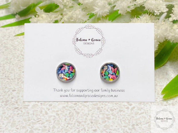 Rainbow Butterfly Stud/Leverback Earrings