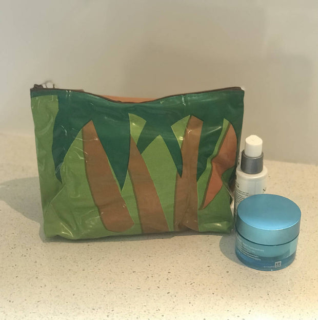 Toiletry bags made from upcycled pooltoys