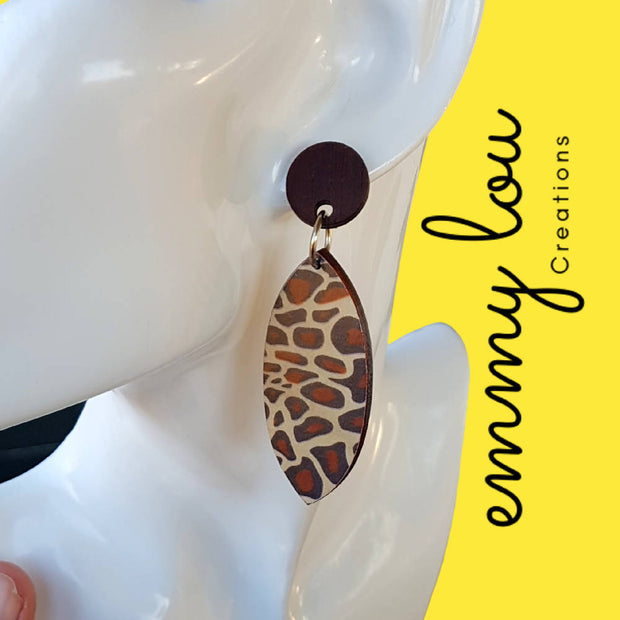 Wooden Decoupage Earrings - Zebra Print