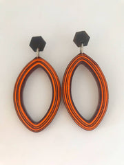 Browney/Orange teardrops quilled earrings made from paper.