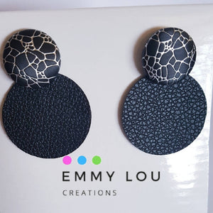 Black Circle Faux Leather Earrings with Black Faux Leather Studs