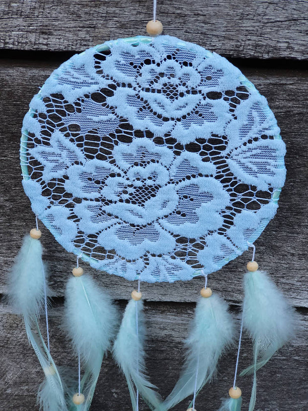 SALE - yellow and blue lace dream catchers