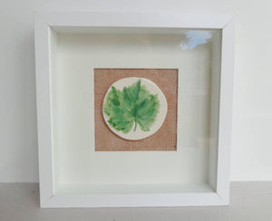 Botanical vine leaf wall art, mixed media framed ceramic green leaf grapevine wall hanging picture miniature